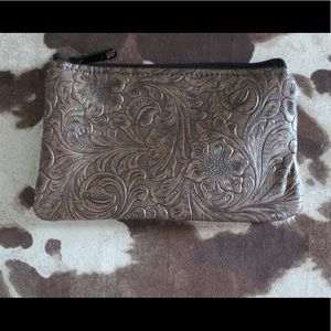 Cowhide and Tooled Leather Coin Pouch